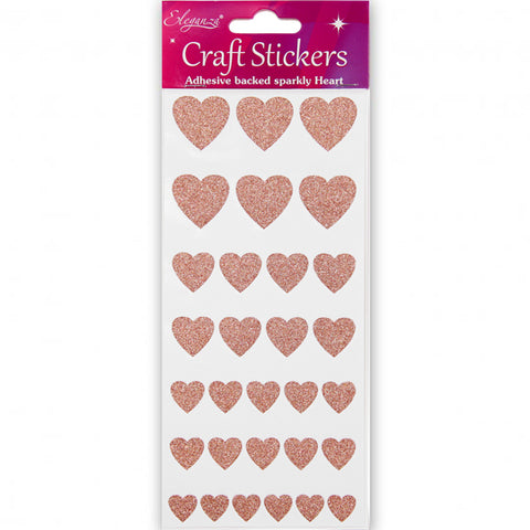 Rose Gold Glitter Heart-Shaped Craft Stickers