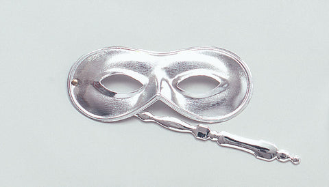 Silver Domino Eye Mask on Stick