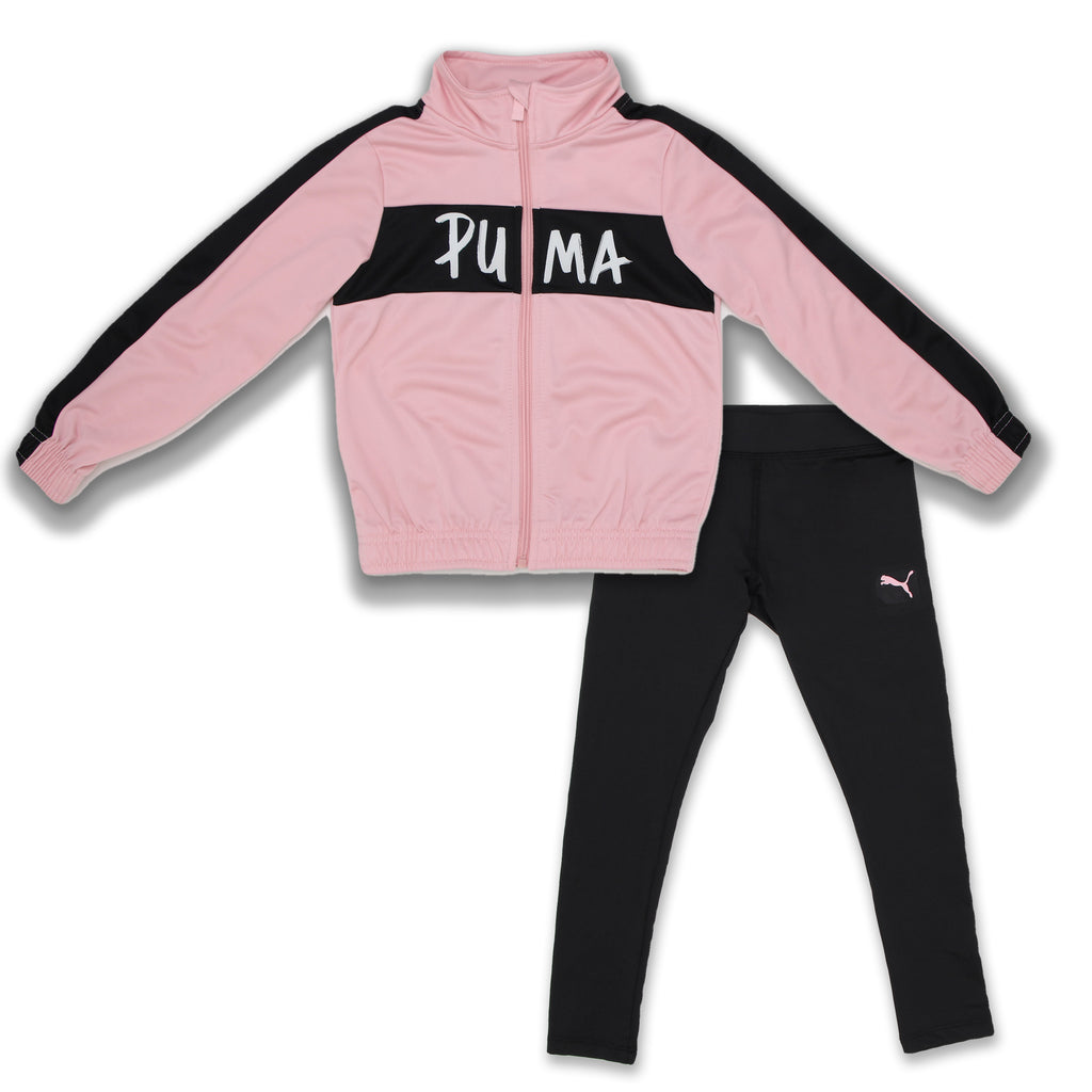 PUMA Little Girls 2 Piece Track Jacket Set With Legging Pants Includes Pink Long Sleeve Zippered Track Jacket And Black Leggings