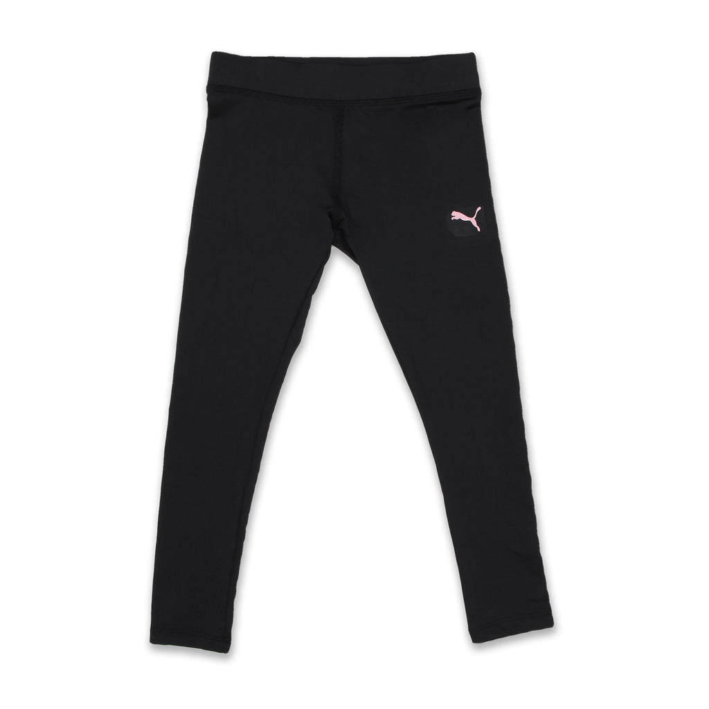 PUMA Little Girls Leggings Covered Elastic Waistband Legging Pants in black with small puma logo