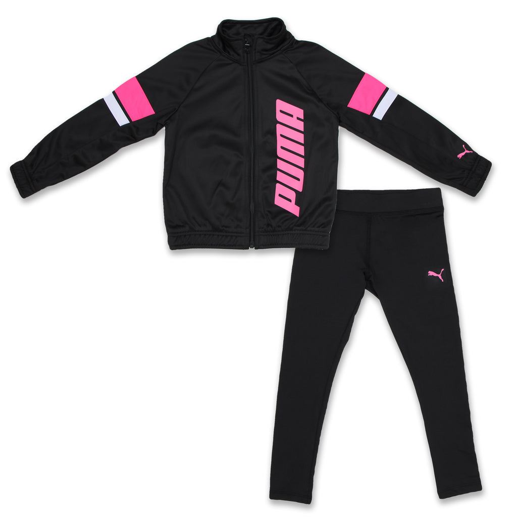 PUMA Little Girls 2 Piece Tricolor Track Jacket Set With Leggings Includes Long Sleeve Zippered Track Jacket And matching black Leggings