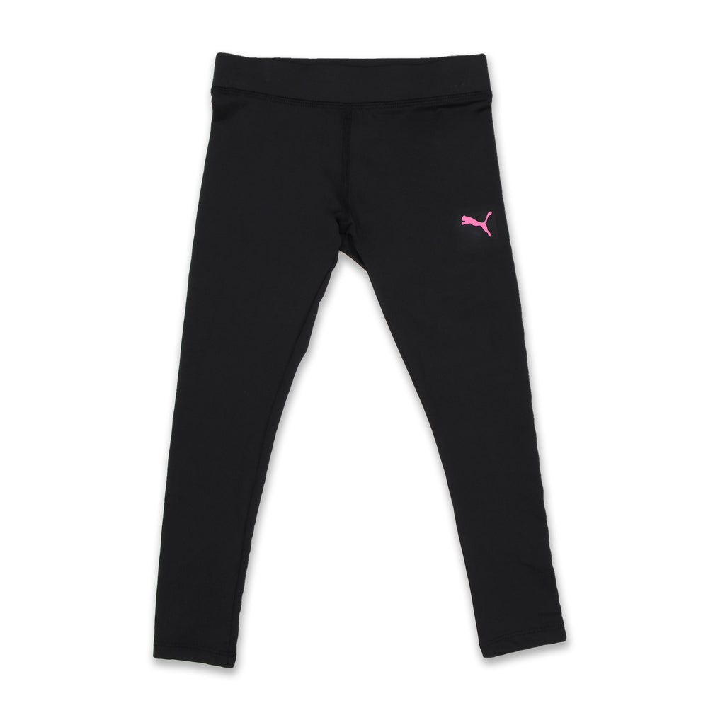 PUMA Little Girls matching pants leggings come with Covered Elastic Waistband and small pink retro puma logo