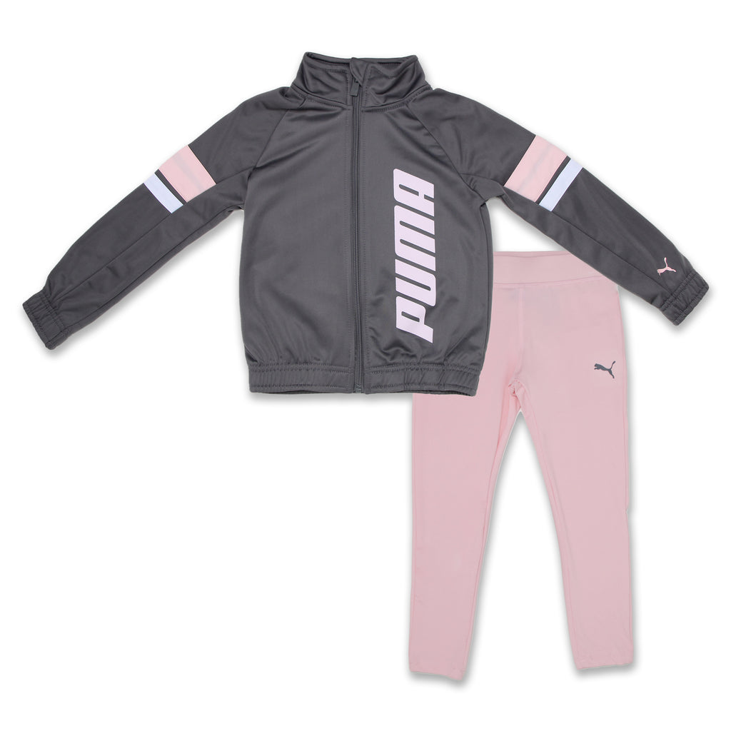 PUMA Little Girls 2 Piece Tricolor Track Jacket Set With Leggings Includes Long Sleeve Zippered Track Jacket And matching pink Leggings