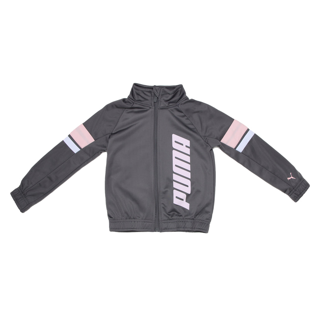 PUMA Little Girls Tricolor Track Jacket Features Tri Color Design On Sleeves Full Length Front Zipper and PUMA Logo On Body Chest