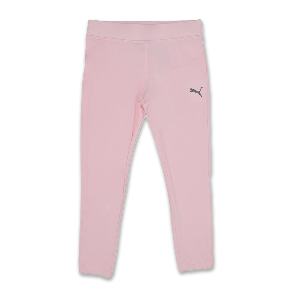 PUMA Little Girls matching pants leggings come with Covered Elastic Waistband and small grey retro puma logo