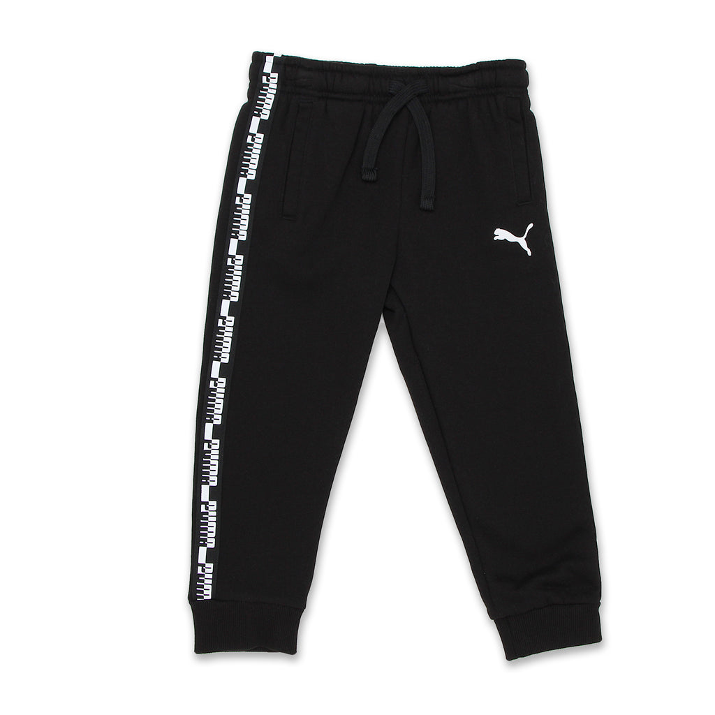 PUMA Little Boys jogger sweat pants Feature 2 Side Pockets Self Tie Drawstring Waist Split Calf Seam Ribbed Jogger Cuffs Big Cat Logo On Pant And Leg