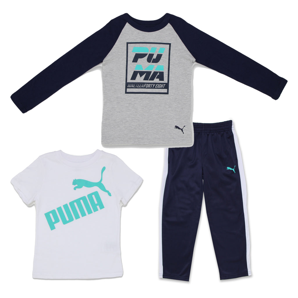PUMA Little Boys 3 Piece Set Includes Crewneck Short Sleeve Crewneck Long Sleeve tshirts And Track Style Sweatpants