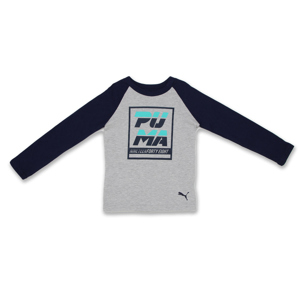 PUMA Little Boys Crewneck Long Sleeve tshirt two color features big puma logo on chest