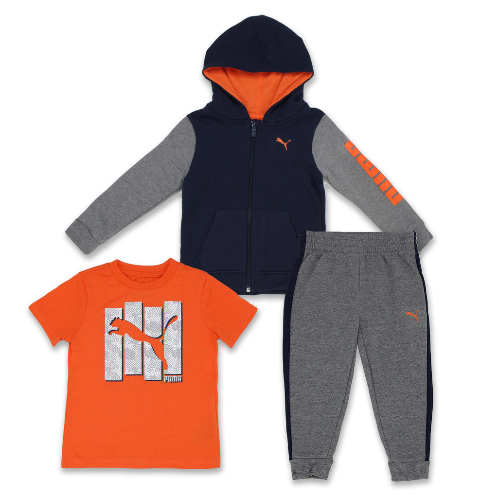 PUMA Toddler Little Boys 3 Piece set includes Zip Hoodie Sweatshirt and TShirt Jogger Pants