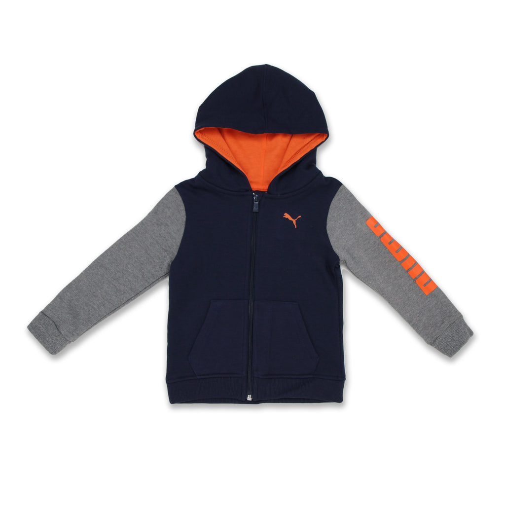 PUMA Toddler Little Boys Long Sleeve Zippered Hooded Sweat Shirt Hoody Jacket has Full Front Zip Up 2 Front Pockets and PUMA Big Cat Logo On Chest