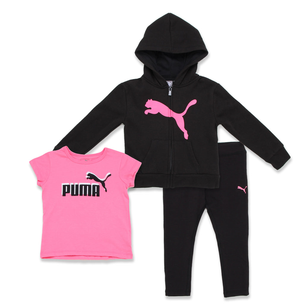 PUMA Toddler Girls 3 Piece Set Includes Full Front Zippered Hooded Sweatshirt Shortsleeve Graphic Tee Shirt Stretch Legging Pants