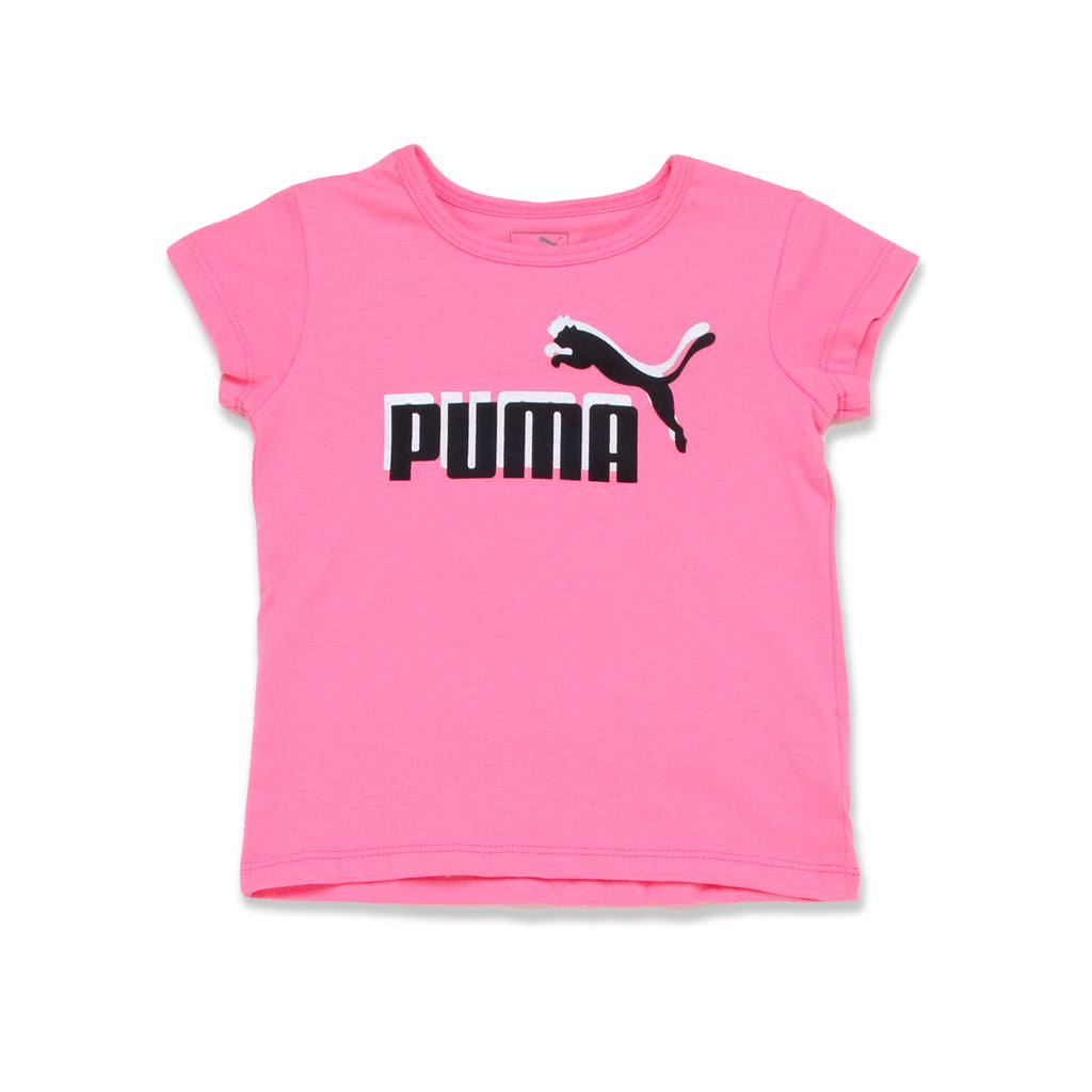 PUMA Toddler Girls Short Sleeve Graphic Tee Features PUMA Big Cat Logo