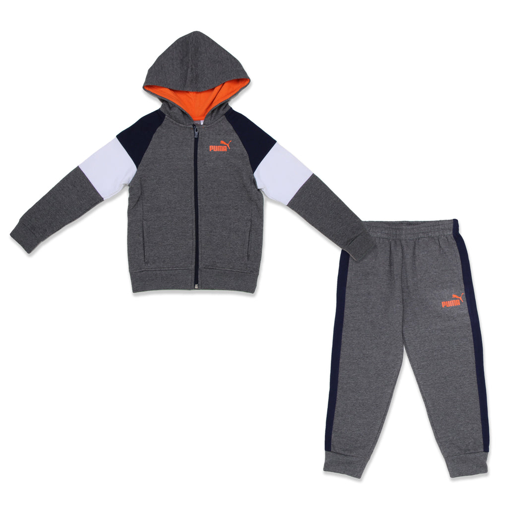 PUMA Little Boys 2 Piece Set Includes Zippered Hoodie Sweatshirt And matching Jogger Sweatpants