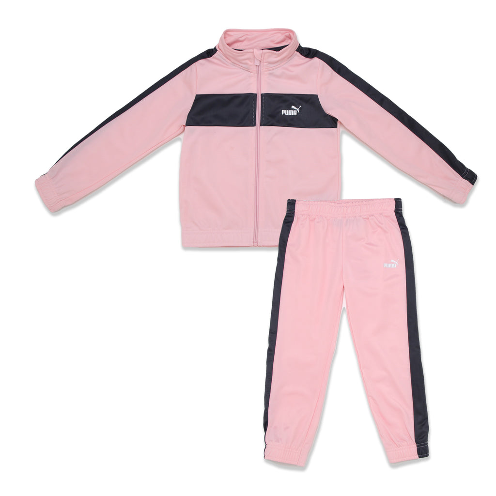 PUMA Little Girl 2 Piece includes full zippered Athletic Stripe Panel Track Jacket and matching Jogger Set pants