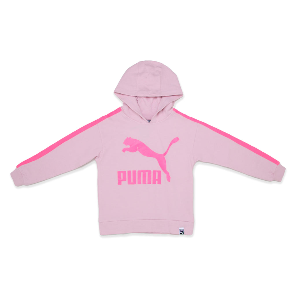 PUMA Big Girls lightweight fabric Big Cat Logo Pullover Hoodie Sweatshirt with Color Pop Striping On Sleeves and Enlarged Big Cat Logo On Chest