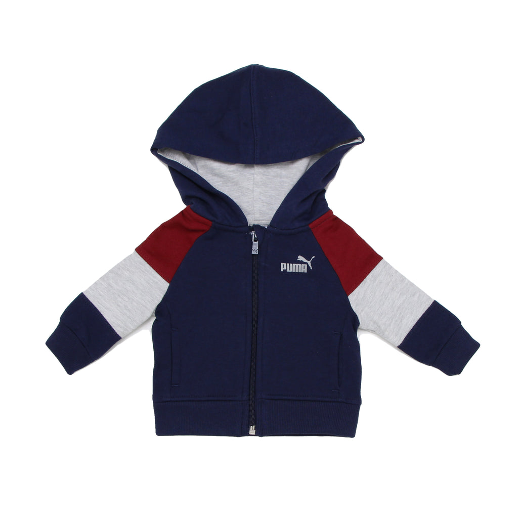 PUMA Baby Boys Zip Up Hoodie Features 2 Side Pockets Tri Color Panel Constructed Design PUMA Big Cat Logo On Chest