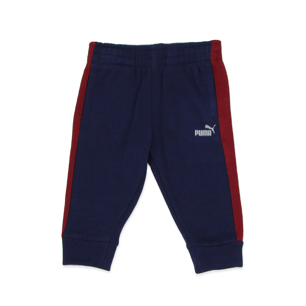 PUMA Baby Boys Pants Feature 2 Side Pockets Ribbed Jogger Cuffs On Pant and big cat logo on leg
