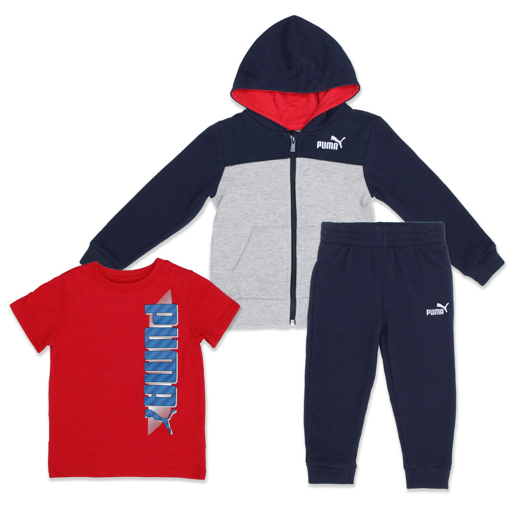 PUMA Toddler Boys 3 Piece includes Zip Hoodie Sweatshirt Graphic Tee and Jogger Set