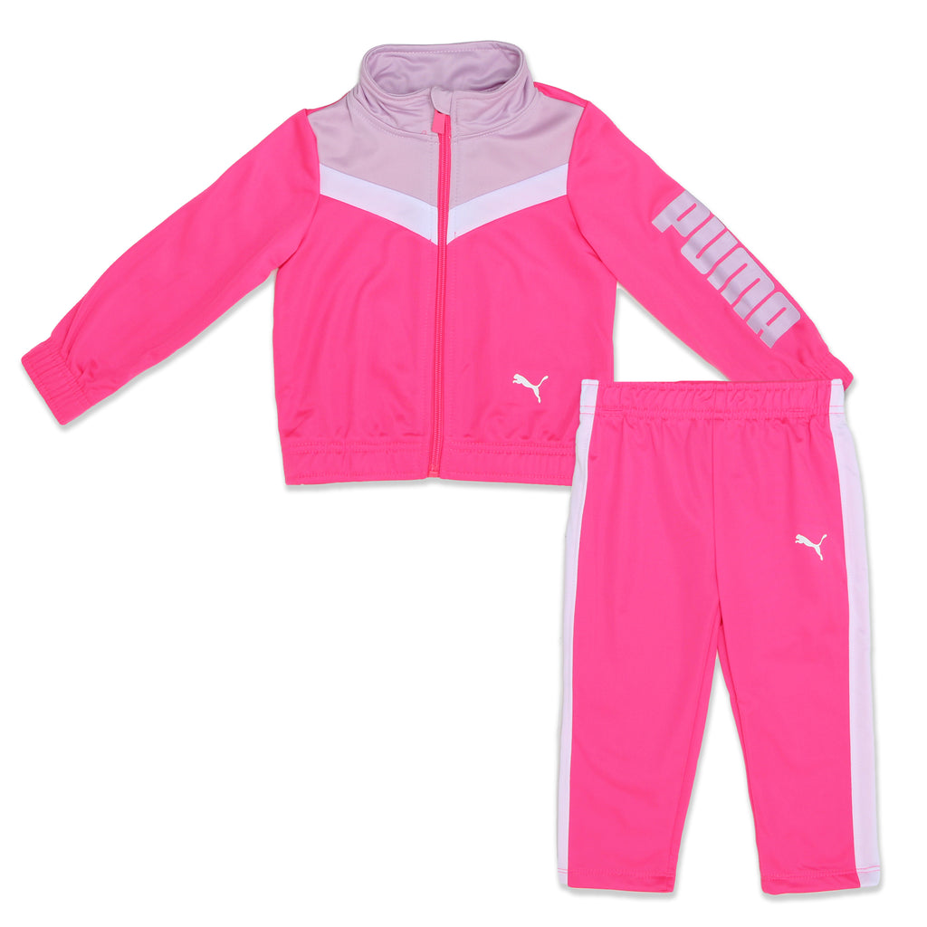 Baby girls PUMA 2 piece track suit set with longsleeve full front zip up pink white purple jacket sweater and matching pants