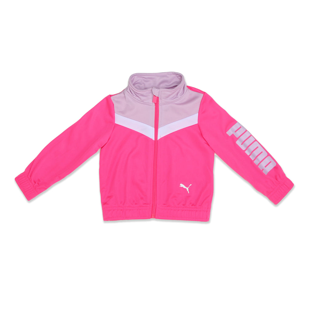 Baby girls PUMA long sleeve zippered pink track jacket with white and purple chest accents and purple logo on sleeve