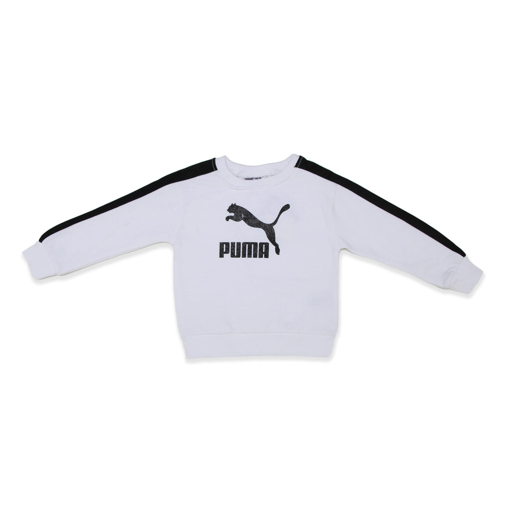 PUMA Baby Girls Sweatshirt Features Ribbed Crew Neck Sleeve Cuffs And Hem Black Glitter Big Cat Logo On Chest