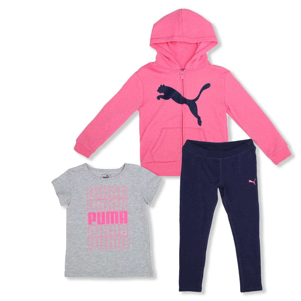 PUMA Little Girls 3 Piece Set Includes ZipUp Hooded Sweatshirt Shortsleeve Graphic TShirt and Legging Pants