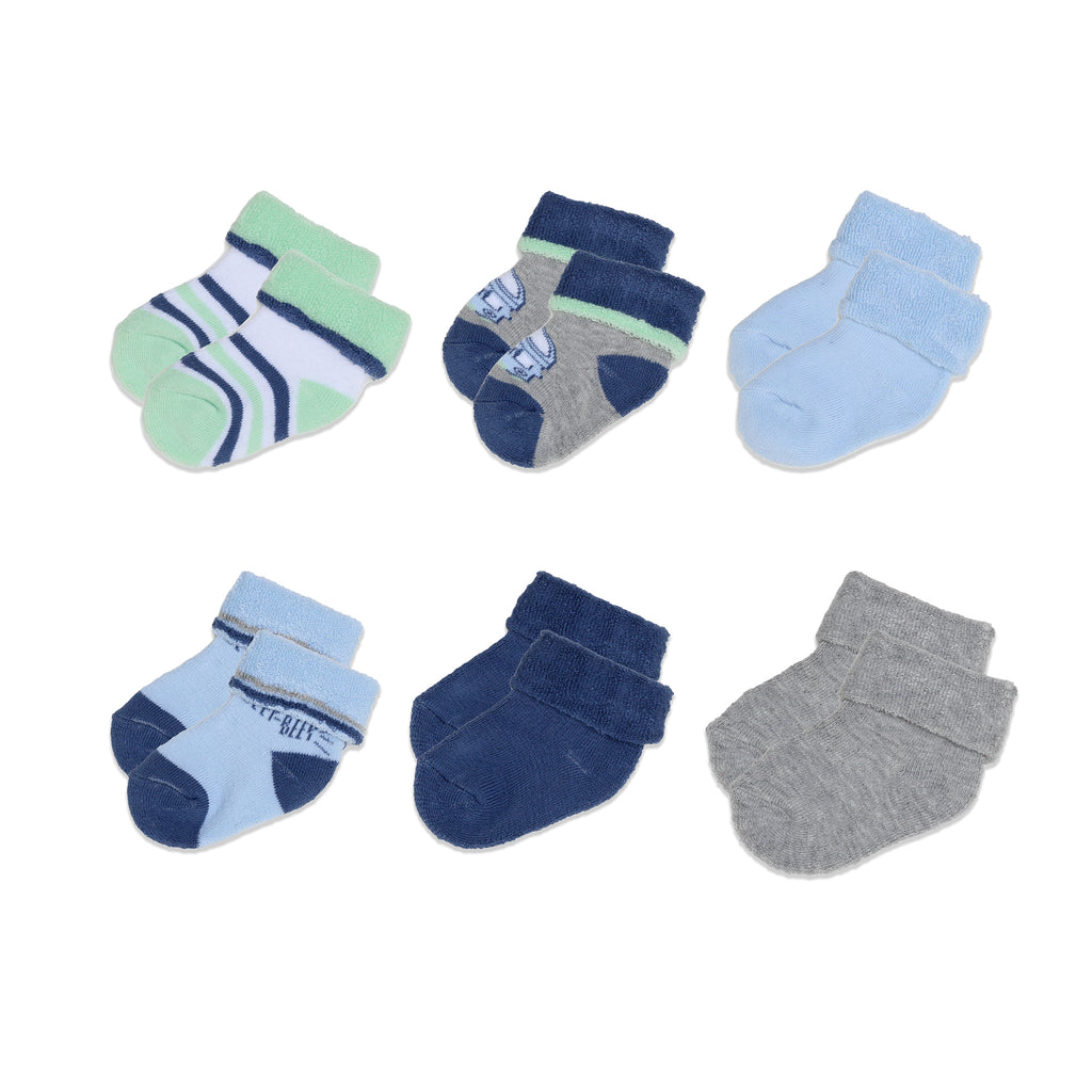 Mary Jane & Buster Baby Boy 6 Pack French Terry Cloth Fold Over Socks featuring fun boy prints stripes colors and shapes