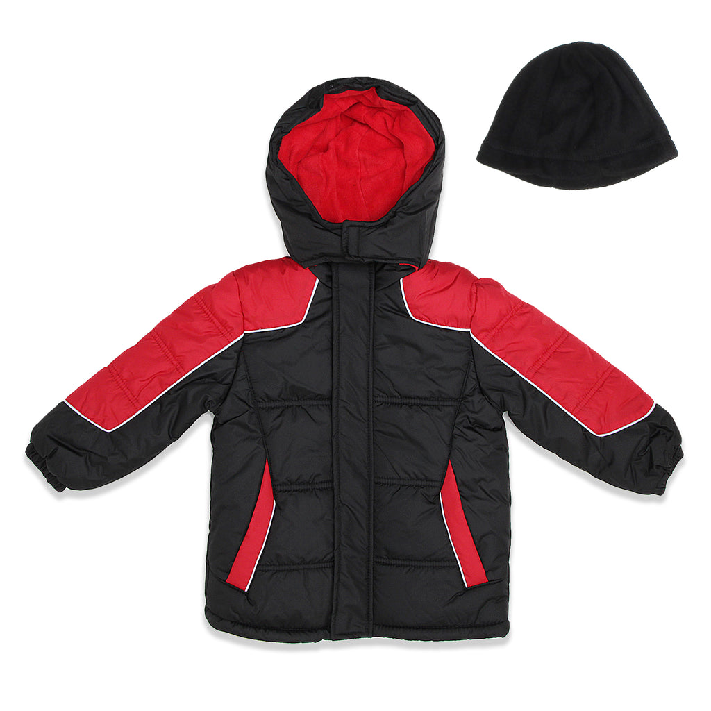 iXtreme Toddler Little Boys 2 Piece Set Includes Boys Insulated Winter Jacket And Matching Fleece Beanie Hat