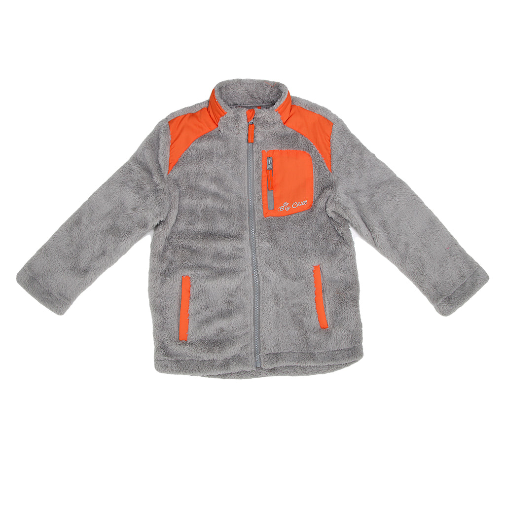 Big Chill Big Boys Lightweight Zip Up Spring Fall Fuzzy Jacket has 2 Side Pockets And 1 Zippered Chest Pocket Fuzzy Exterior