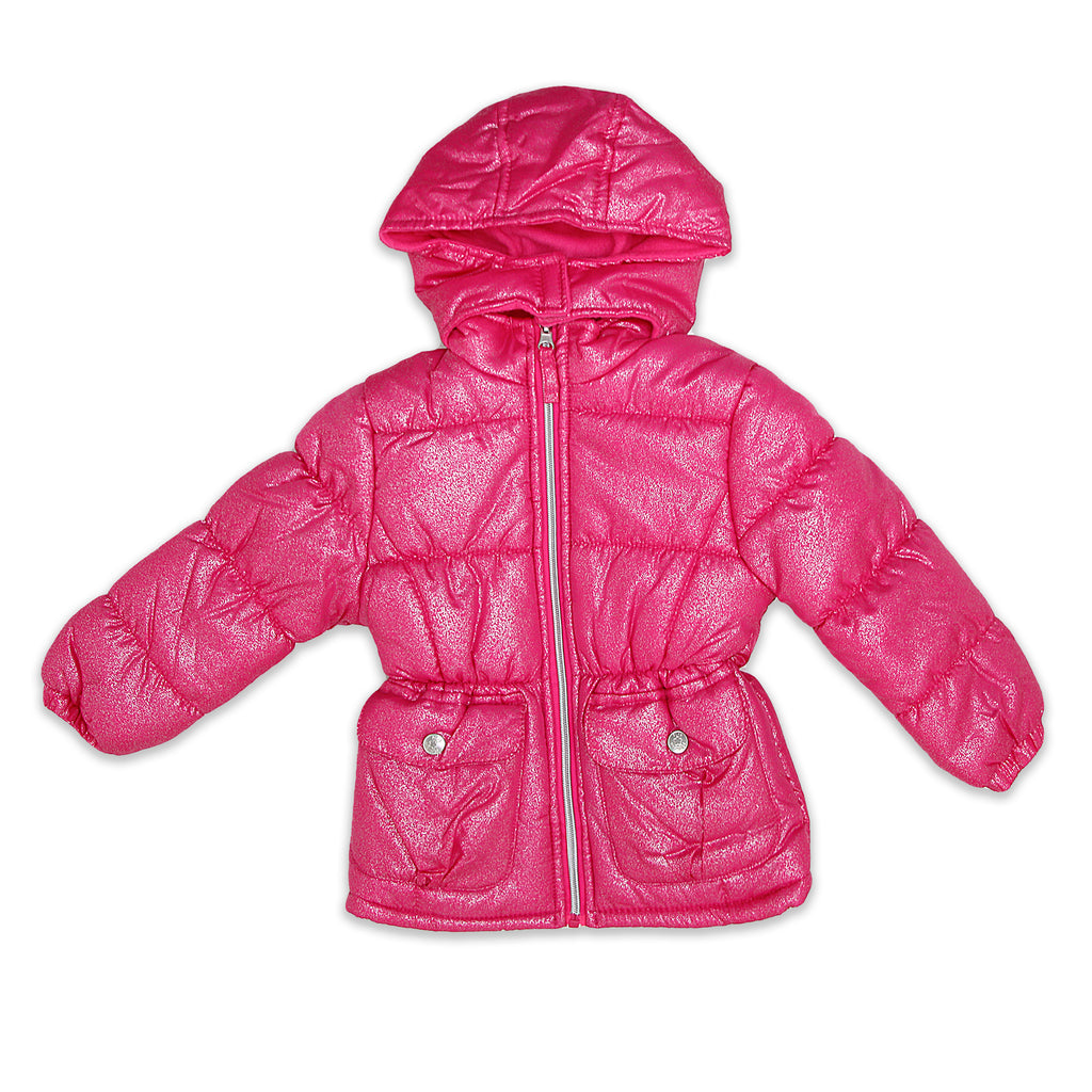 Pink Platinum Little Girls Hooded Bubble Puffer Jacket With Silver Spray Foil Shimmer Velcro Closure 2 Side Button Pockets