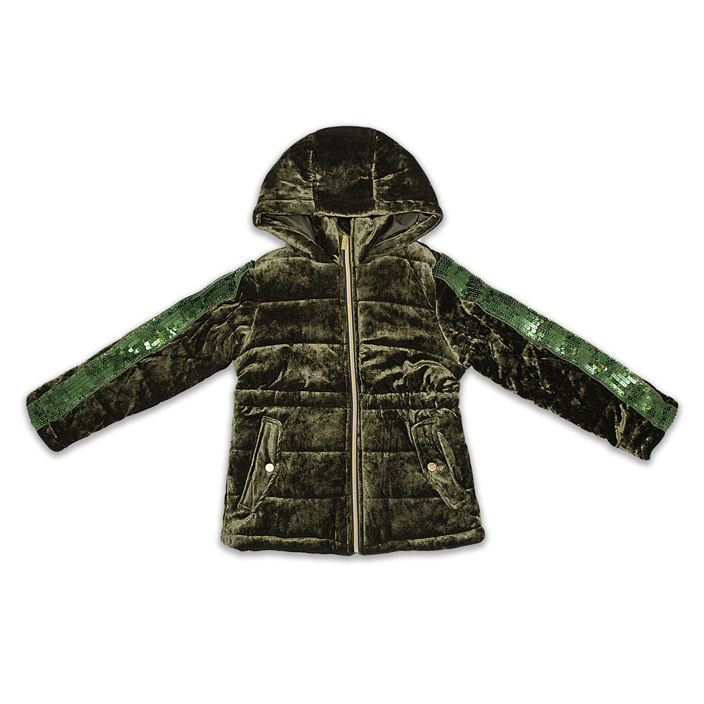 Limited Too Big Girls Hooded Velvet Anorak Winter Coat With Sequins 2 Front Snap Button Pockets and fitted waist