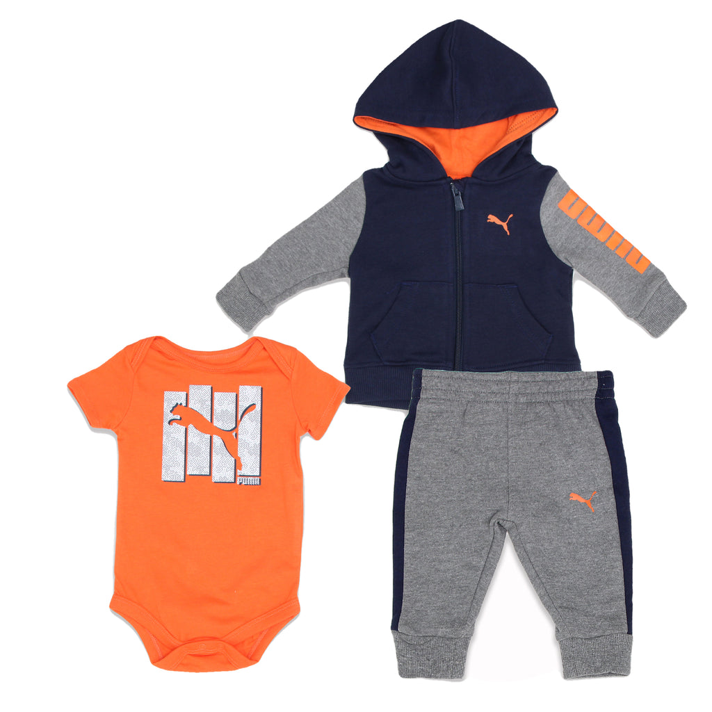 PUMA Baby Boys 3 Piece Set Includes Longsleeve Zippered Hooded Sweatshirt and Shortsleeve Onesie