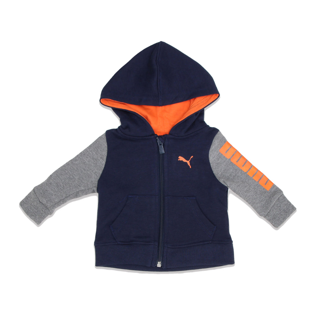 PUMA Baby Boys Longsleeve Zippered Hooded Sweatshirt comes with 2 Side Pockets Color Contrast Sleeves And Hood Lining