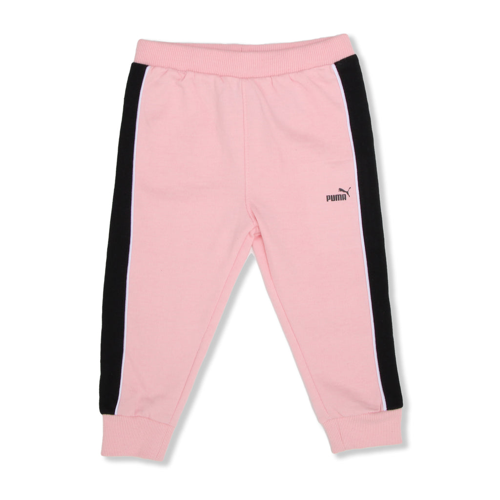 PUMA Baby Girls matching joggers Pants Feature Tricolor Piping And Stripe Down Leg with big cat PUMA logo on leg