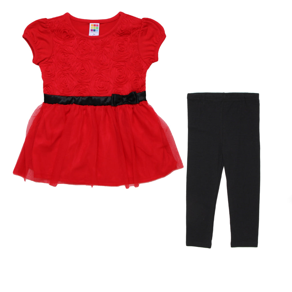 Toddler girls two piece set with red short sleeve dress with tulle roses on bodice with liner and matching black leggings