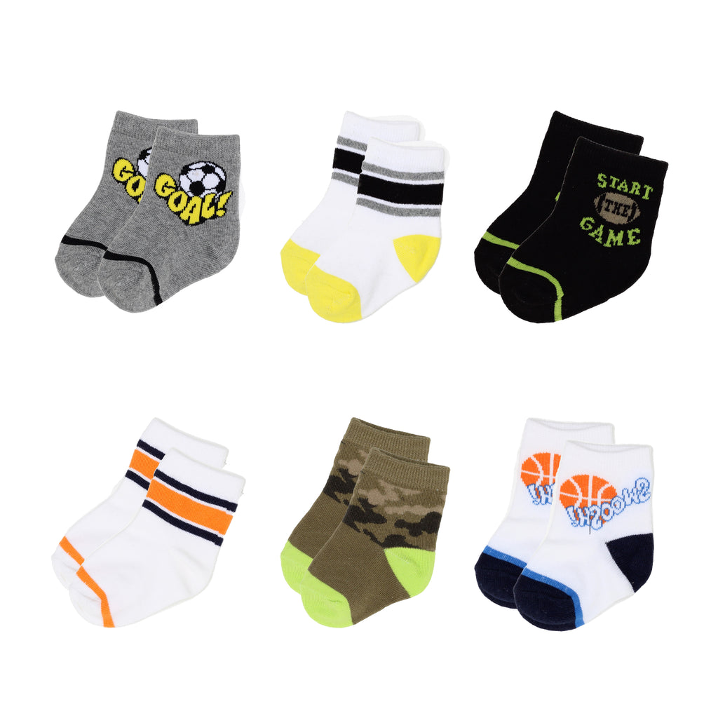 Garanimals Infant Baby Boy 6 Pack Sports Athletic Socks Above Ankle Crew Cut Sport Themed Camouflage Striped Pattern Designs