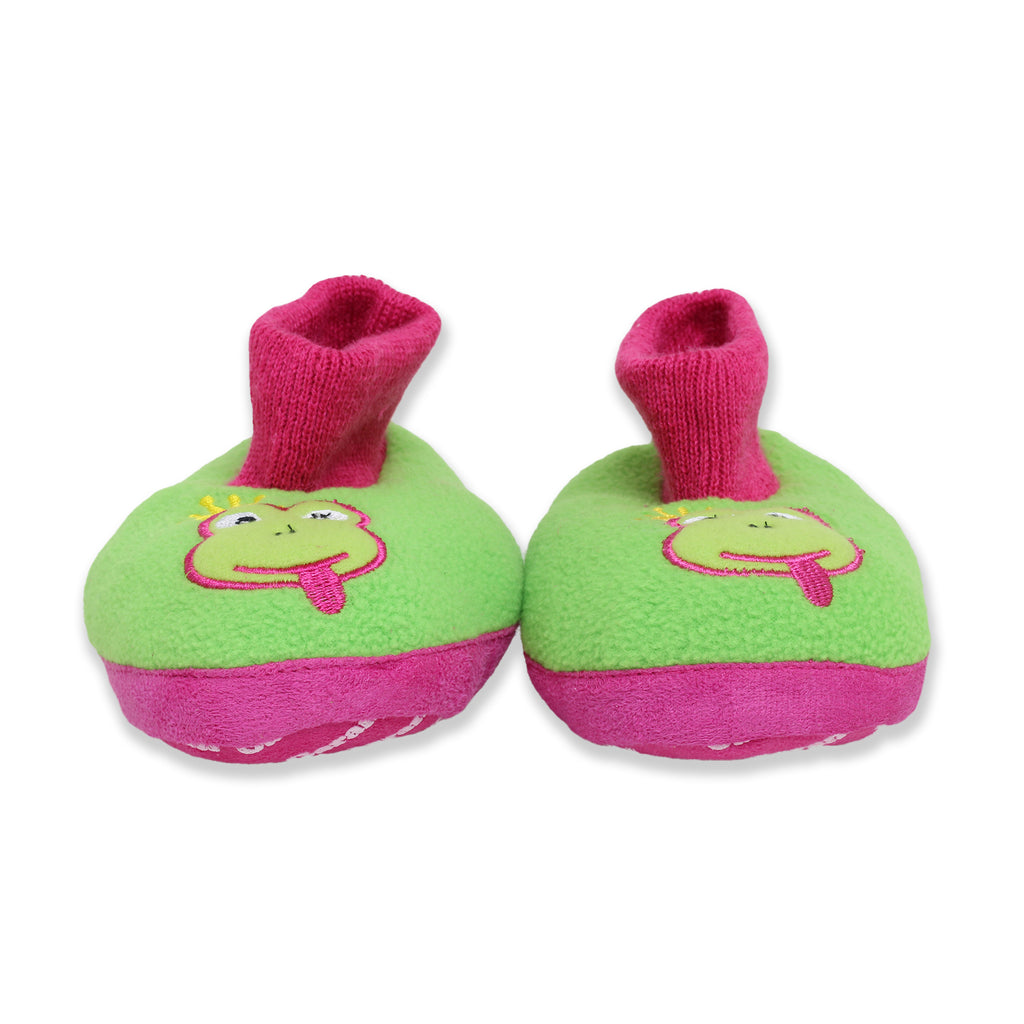 Garanimals Toddler Little Girls Fleece Sock Top Slippers with Embroidered Frog Animal Face Design and Non-Slip Grippers Soles