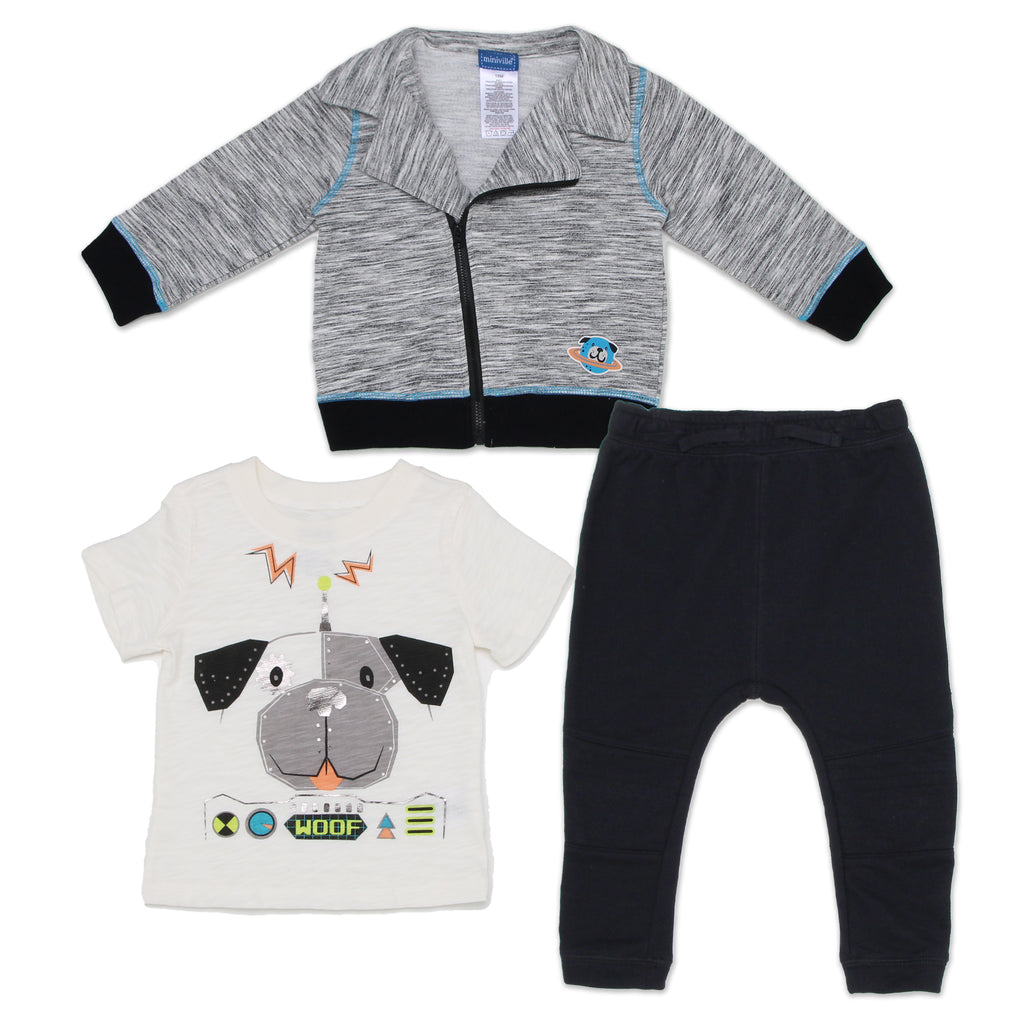 Miniville Baby Boys 3 Piece Space Robot Dog Set Includes Full Front Zippered Sweater Short Sleeve Graphic Tee Shirt And Pants