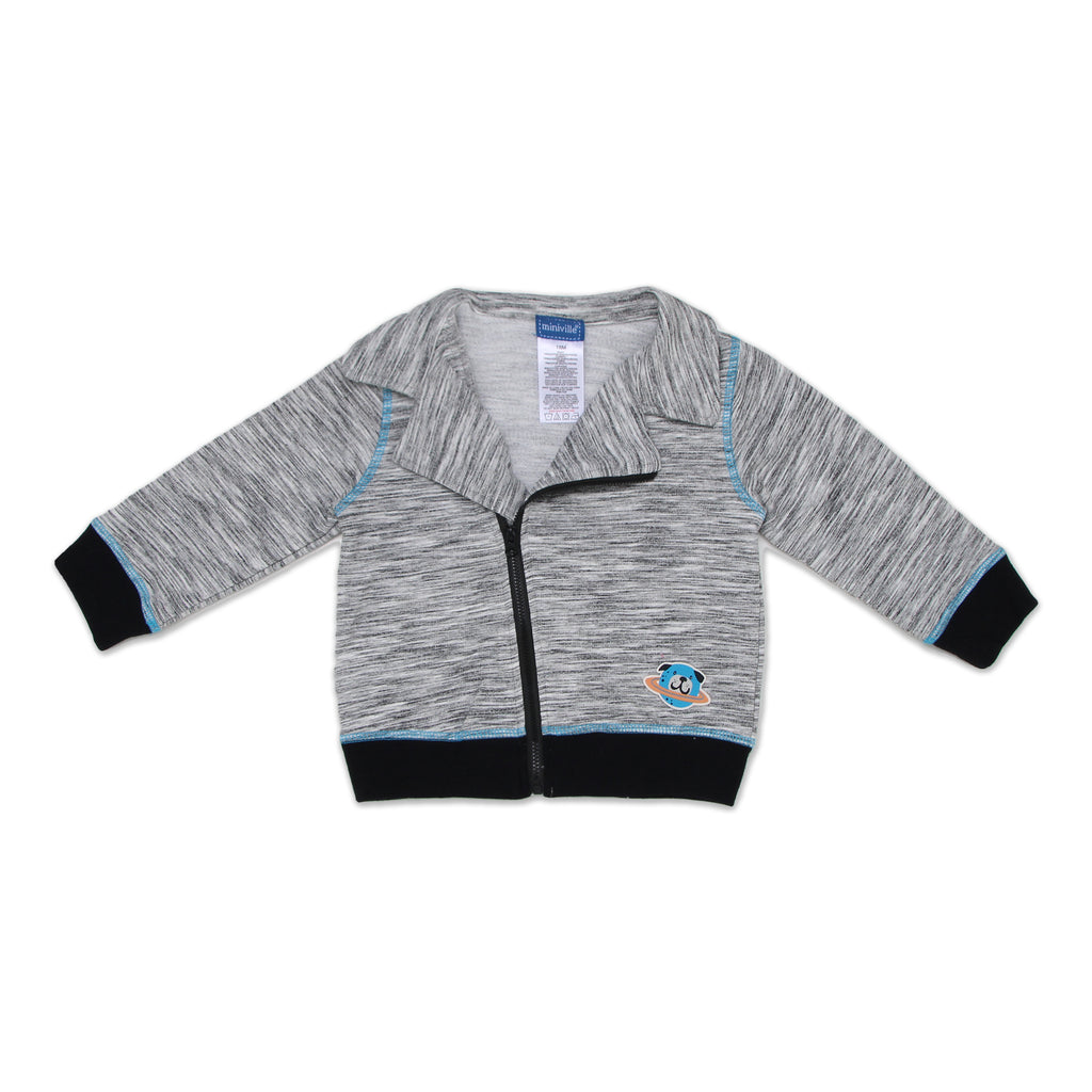 Miniville Baby Boys Sweater Features Blazer Style Collar it also has contrast stitching and a space dog patch