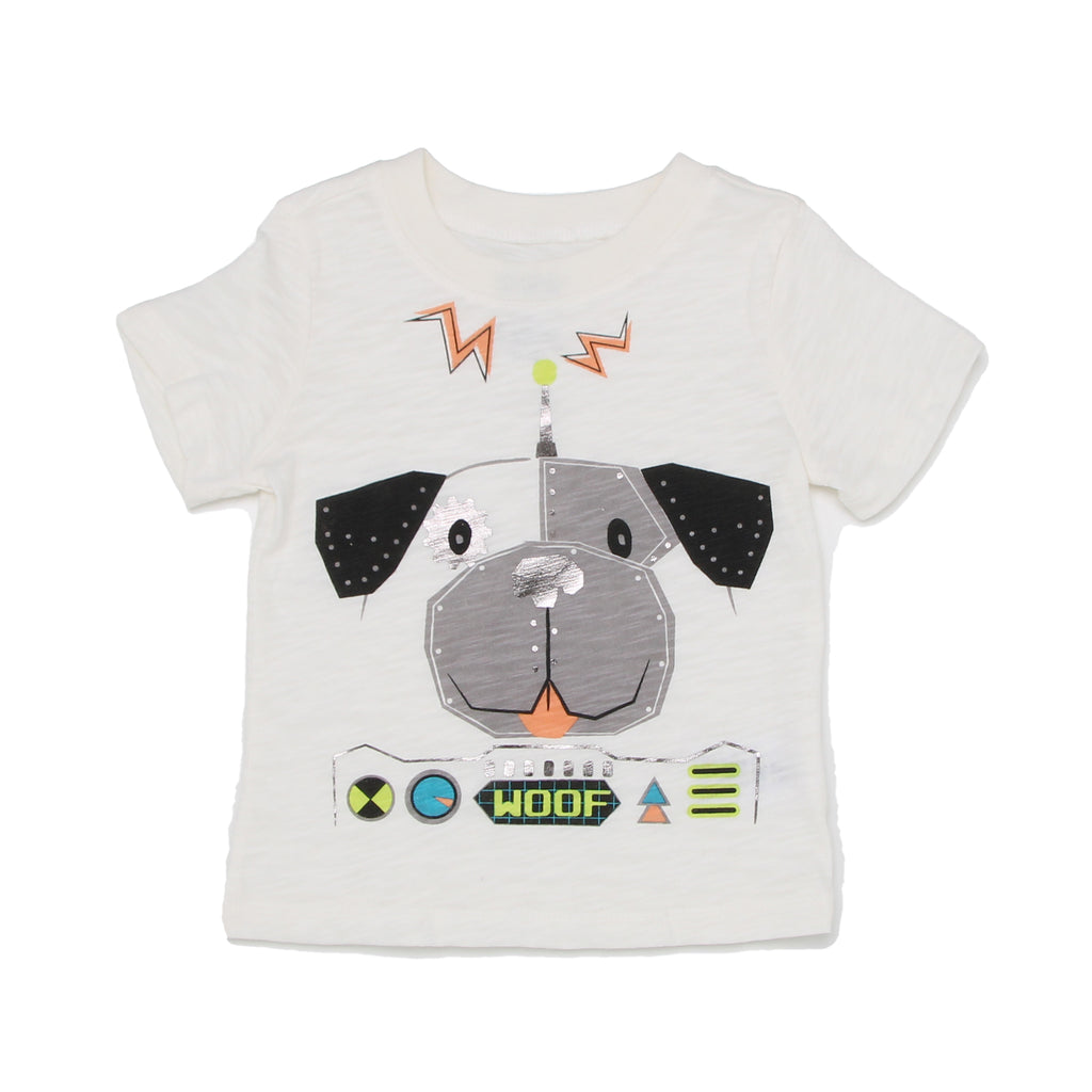 Miniville Baby Boys tshirt top Graphic Tee Features Metallic Space Robot Dog Print and woof verbiage