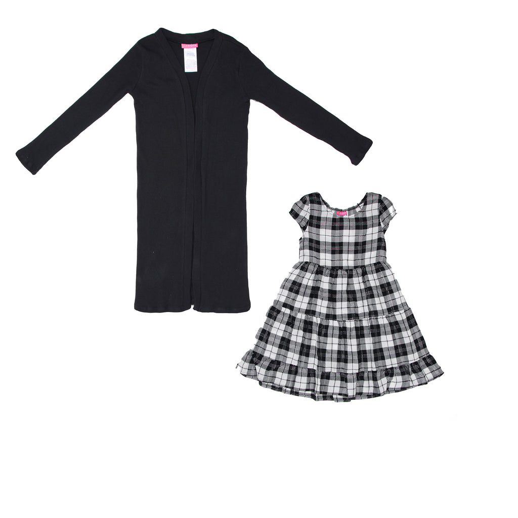Girls 2 piece set with longsleeve black cardigan sweater and matching shortsleeve black white silver plaid sun dress