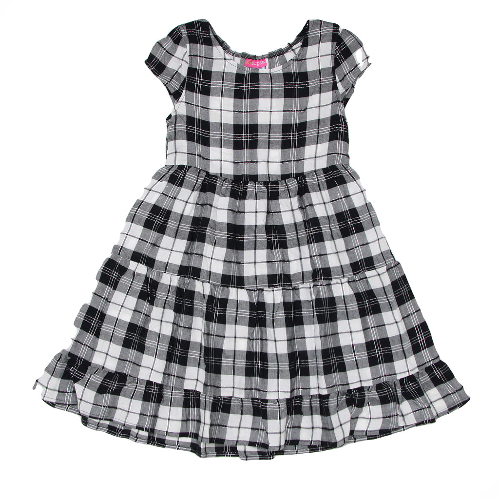 Girls short sleeve black white silver shiny plaid design dress in lightweight fabric with ruffle hem