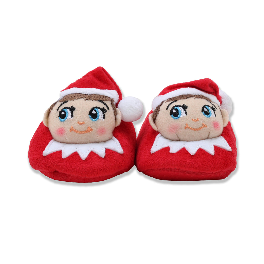 Elf On The Shelf Baby Toddler Boys Girls 3D Holiday Slipper Stuffed Elf Head With Pom Pom Stocking Cap Non Slip Grips On Sole