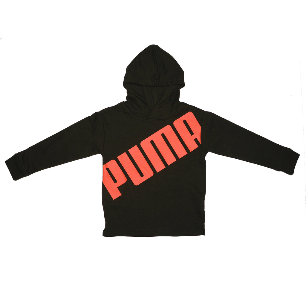 Boys black longsleeve hooded sweatshirt with bright orange PUMA block letter logo across chest hoodie sweat shirt