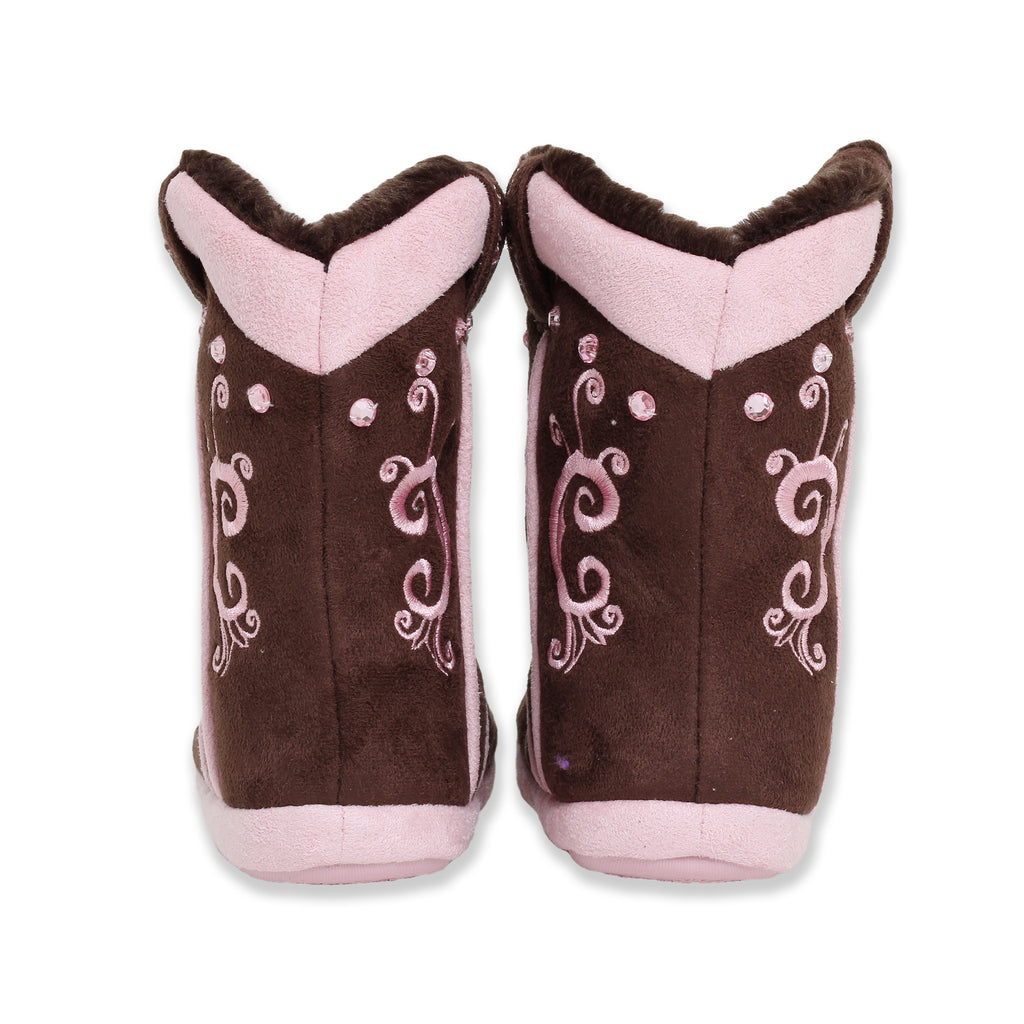Blazin Roxx Big Girls Slip On Western Cowboy Boot Slipper Bootie with Fully Lined Faux Fur Interior and 3D Rhinestone Detail
