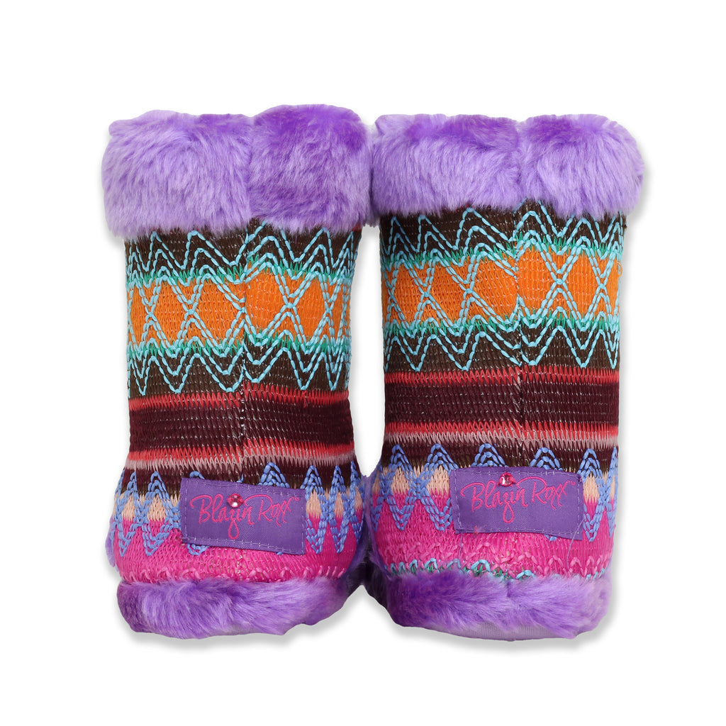 Blazin Roxx Big Girls Slip On Faux Fur Embroidered Boot Slipper Bootie with Purple Faux Fur Detail and Non Slip Rubber Sole