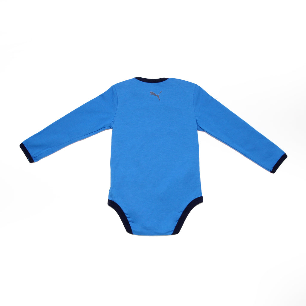 Back of baby boys PUMA long sleeve crew neck onesie bodysuit in solid blue with PUMA big cat logo on back
