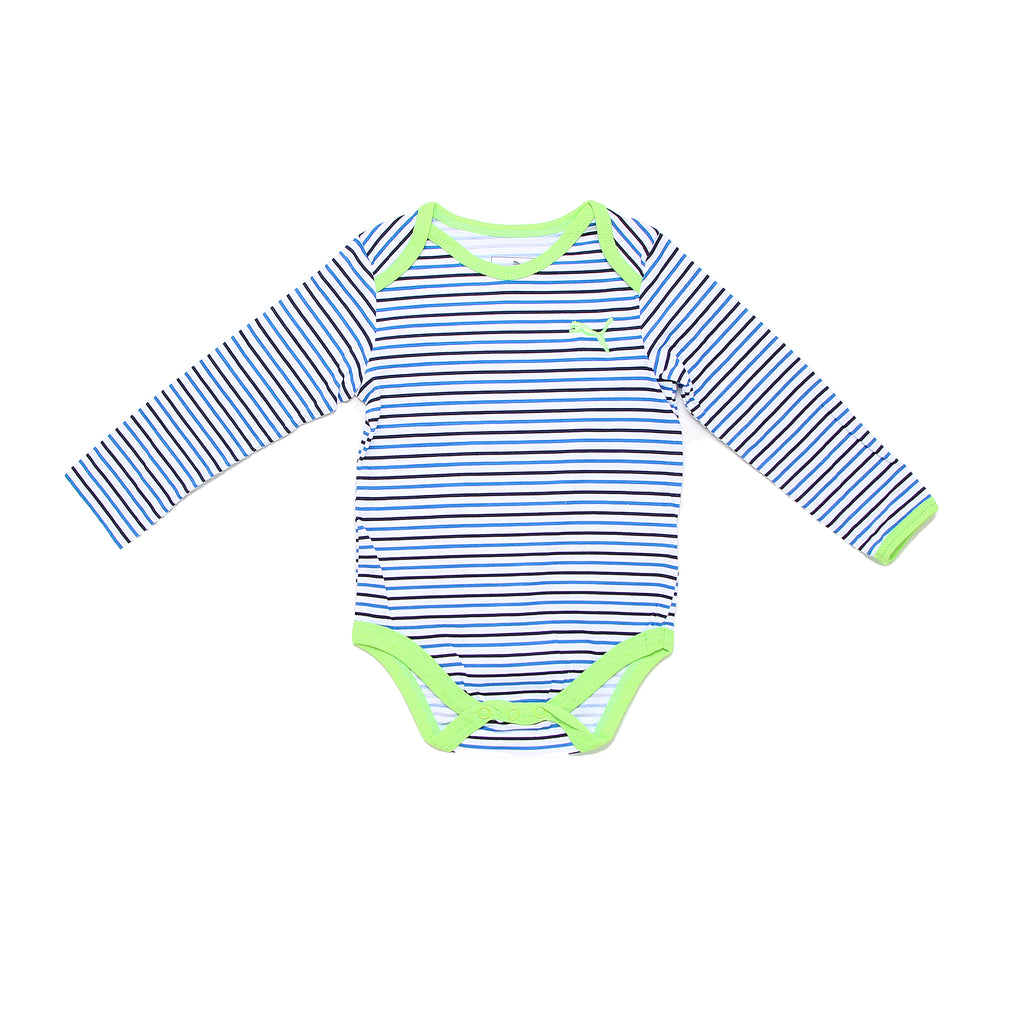 Baby boys PUMA long sleeve crew neck onesie bodysuit in white with horizontal green and blue stripe design and lap shoulders
