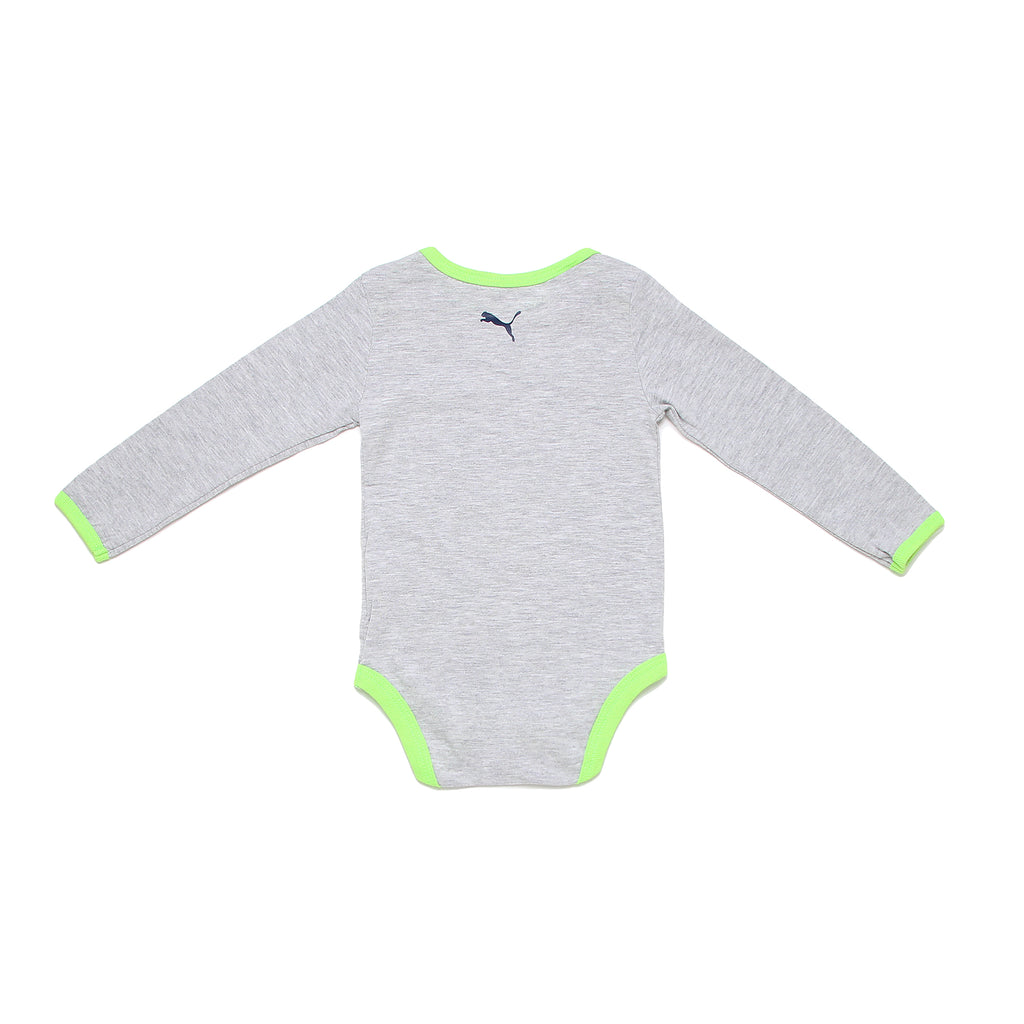 Back of baby boys PUMA longsleeve onesie in light heather grey with big cat logo on back and contrast green seam edging