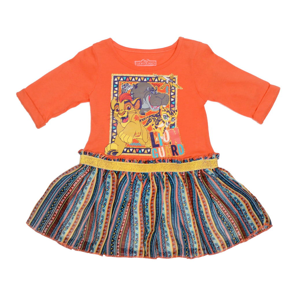 Disney Lion Guard characters Kion and Fuli longsleeve orange dress with tribal colorful flowy skirt in blue green yellow